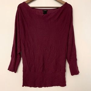 Ann Taylor Wool Blend Sweater Wine Size Large